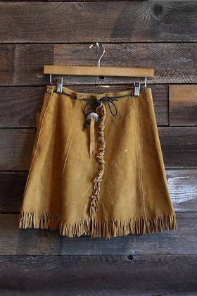 '70s Suede Fringe Wrap Skirt | M