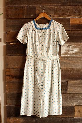 Vintage Polka Dot Dress - Large