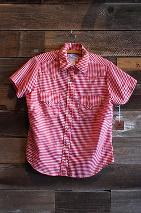Retro Rockmount Red Gingham Pearl Snap   Women's Large