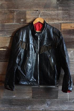 Vintage Black Leather Fringe Moto Jacket   Men's L