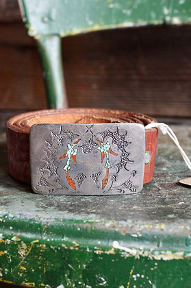 """Vintage Sterling Turquoise & Coral Chip Inlay Buckle & Belt 