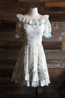 '70s Squardeance Floral Dress   L