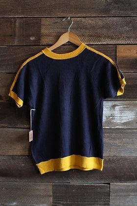 '70s Black & Yellow Short Sleeve Sweatshirt   Women's M