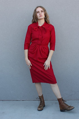 '60s Crimson Wool Dress | Small