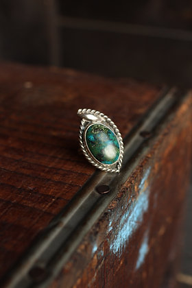 Mexican Dark Green Turquoise Ring - 8