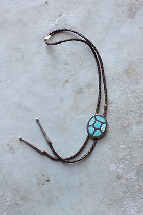 Vintage Turquoise Inlay Bolo Tie