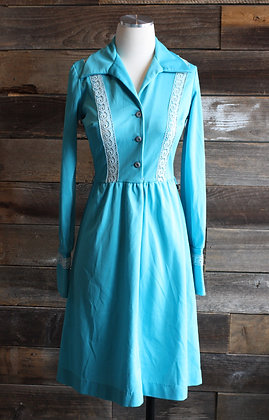 '70s Blue Poly Collared Dress | S