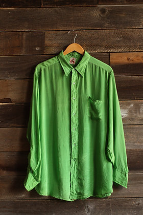 '30s Miller Lime Green Silk Western Button Up - Men's X-Large