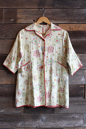 '40s Quilted Cotton Bed Jacket   Small
