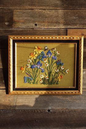 Embroidered Floral Framed Wall Hanging
