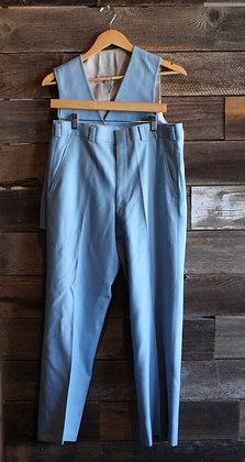 '50s Gabardine 2 Piece Baby Blue Suit | L