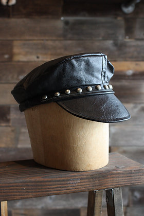 '70s Leather Studded Biker Cap - Small