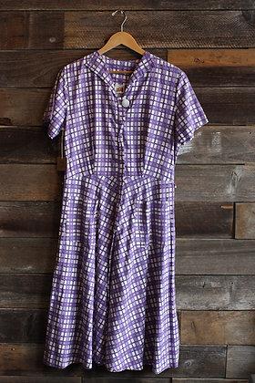 '50s FOTL Purple Cotton Day Dress | L
