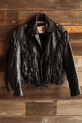 '80s Leather Fringe Moto Jacket - Women's Small/Medium
