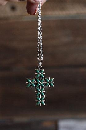 Vintage Turquoise Cross Pendant Necklace