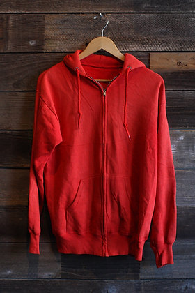 '80s/'90s Red Sunfaded Zip Hoodie - Men's Large