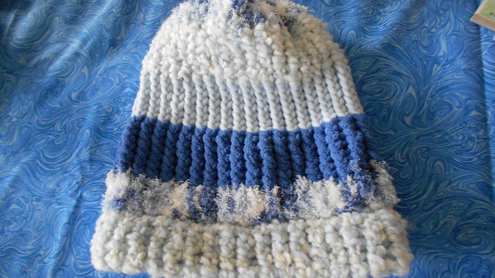 Blue Stripe Beanie Hat