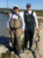 WD and Alex in Waders in Corpus Christi.