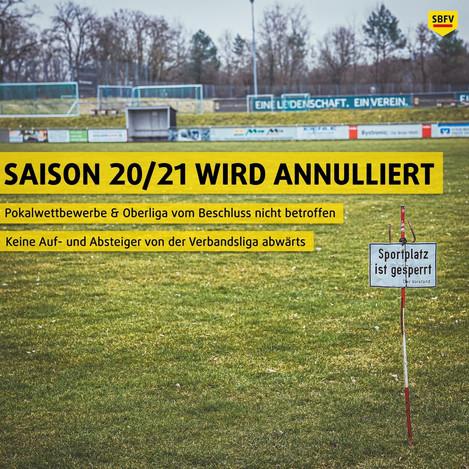 Saison 2020 / 2021wird annulliert