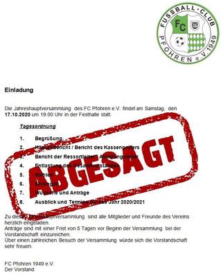 -ABSAGE- General- und Jugendversammlung des FC Pfohren 1949 e.V.