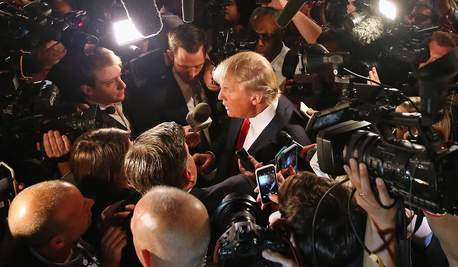 Trump speaking to reportersduring his election campaign.