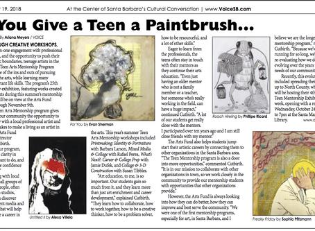 Teen Arts Mentorship Exhibition Review, VOICE Magazine, 2018