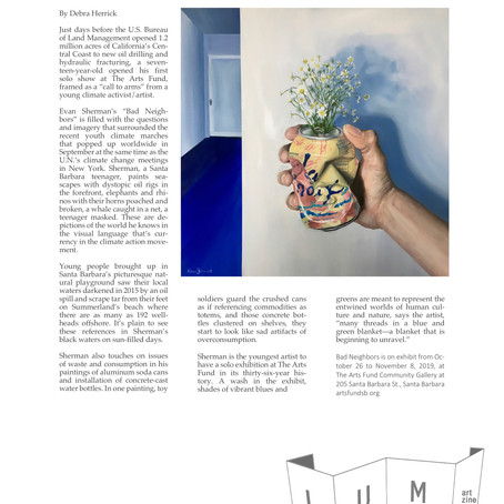 Evan Sherman Solo Pop-Up Exhibition at The Arts Fund: Bad Neighbors, LUM Art Zine 2019