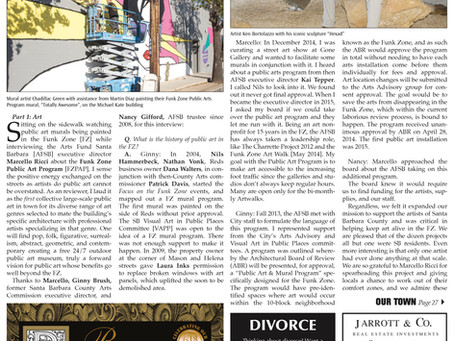 """Making the Funk Zone the Art Zone"" Public Art Program Feature, Montecito Journal, 2017"