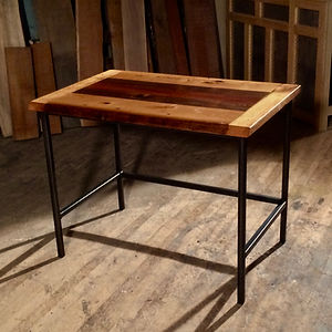 reclaimed wood and metal writing desk
