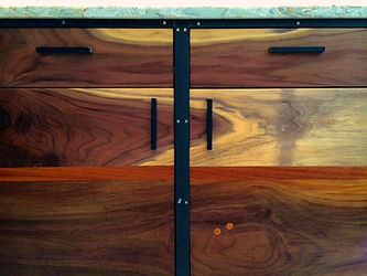 walnut and steel kitchen cabinets