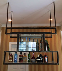 Glass & Steel hanging liquor rack