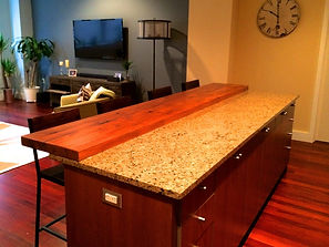 Reclaimed wood countertop extension