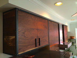 Walnut & Steel wall cabinets