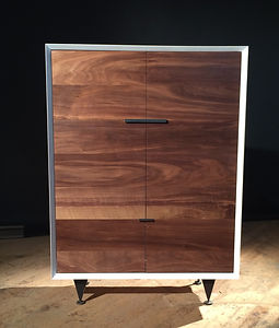 White & Walnut Cabinet with steel legs and door handles