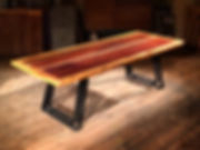 Mahogany, Steel, and Reclaimed Pine Dining Table