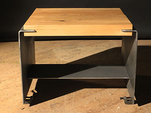 reclaimed wood and steel end table