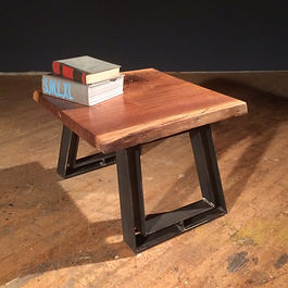 Live edge walnut and steel end table