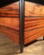 Mahogany and steel outdoor planter