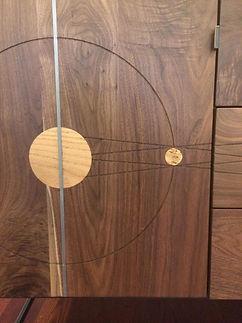 Door with inlays and door pull