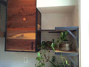 walnut & steel cabinet with corner shelves