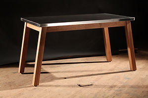 Stainless steel and oak dining table