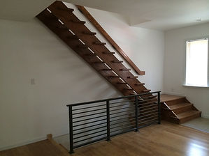 steel and wooden railings