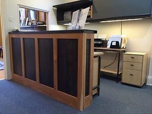 Receptionist Counter, desk, file cabinet