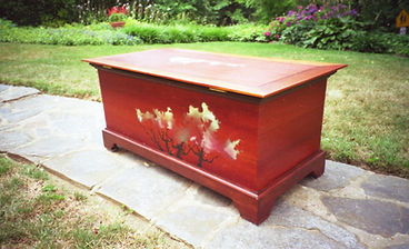Mahogany Hope Chest with hand-painted details