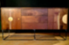 The Eclipse Credenza, with maple, cork, oak, and steel inlays.