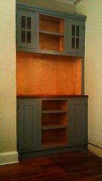 Built-in Shaker-style media cabinet