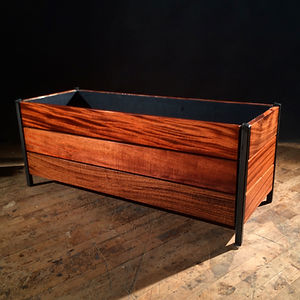 Mahogany & Stee Outdoor Planter Box