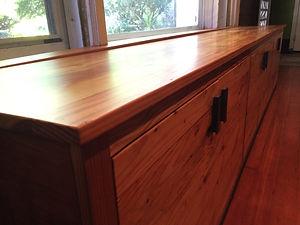 Reclaimed Wood Window Seat Cabinet