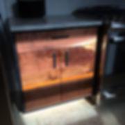 Walnut & steel base cabinet