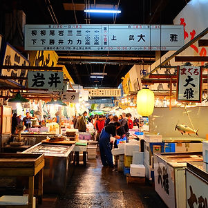 Looking down the busy corridor of Tokyo's Fish Market.